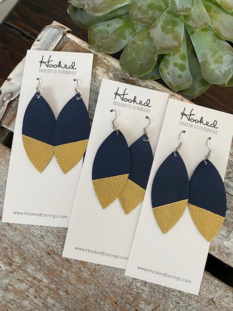 Dipped Navy Petal Earrings